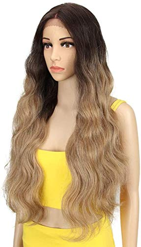 Pelucas 30 Super largo ondulado Encaje frente Pelucas para las mujeres reemplazo de pelo sintético Pelucas 1-2
