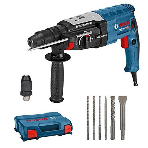 Bosch Professional Martillo Perforador GBH 2-28 F, 880 Vatios, Perforación de Hormigón de Diámetro Hasta 28 mm, Incluye Juego de Taladro-Cincel de 6 Piezas, SDS-plus, en L-Case, Amazon Exclusive Set