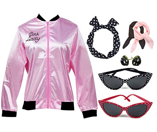 Retro 1950s Pink Ladies Polka Dot Style Headband Costume Accessories Set