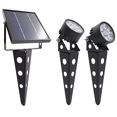 Legacy Mini 50X Twin Solar-Powered LED Spotlight (Warm White LED) for Outdoor Garden Yard Landscape Downlight, Black Finish