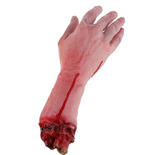 BOVER BEAUTY 1PC Gefälschte Severed Arm Arm gebrochen Hand Horror blutiger Realistic-Streich-Trick für Aprilscherz-Halloween-Party Props (gebrochener Arm)