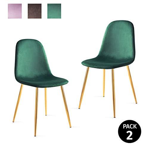 Mc Haus AFRA - Pack 2 Sillas Comedor estilo Vintage tapizadas en terciopelo color Verde, Asiento Acolchado para Salón y Dormitorio con patas metálicas de color Dorado 46x43x86cm