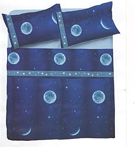 Novia - Sábanas para cama individual de algodón Venere, sábanas de algodón para cama individual   Sábana individual con fantasía fantasía   Sábanas para cama individual infantil – Luna Z474