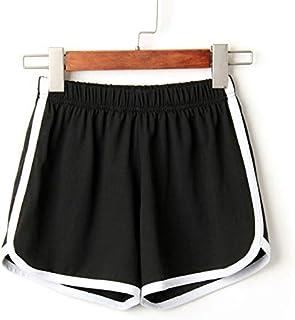 2018 Women Elastic Waist Short Pant Lady Summer Sport Shorts Beach Short Pants Soft Cotton All-Match Loos Short Femme : Black, XL, China