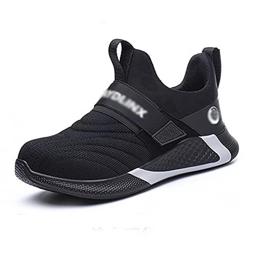 Zapatos de trabajo Los entrenadores de la gorra de punta de acero de los hombres - zapatillas de seguridad ligeras - zapatillas para caminar transpirables, zapatos de senderismo suave - Ideal para aca