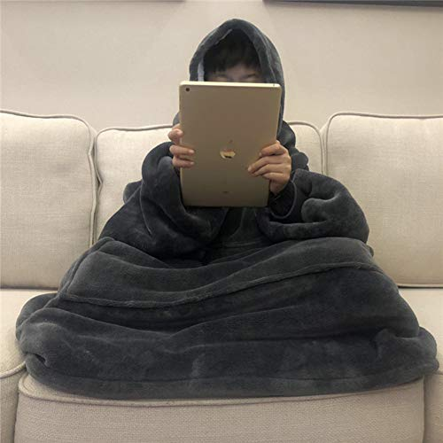 JGSDHIEU Winter Thick Comfy TV Manta Sudadera Sólida Manta con Capucha y cálida Adultos y niños Mantas con Forro Polar para Camas Viajes
