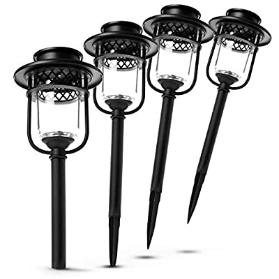 Home Zone Security Solar Glass Path Lights - Decorative Outdoor Landscape and Garden Large Stainless Steel Solar Pathway Lights, 4-PK