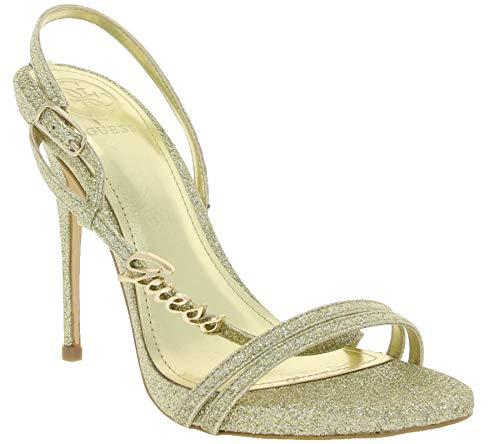 Guess Schuhe Pumps schicke Damen Absatz-Sandaletten in Glitter-Optik Sandale Abend-Schuhe Gold, Größe:35