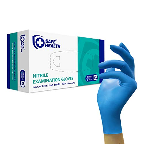 SAFE HEALTH Blue Nitrile Exam Gloves, Box of 90, 3.5 Mil, XL, Powder/Latex-Free, Finger Textured, Disposable, Medical Grade, Food, Tattooed, General Use