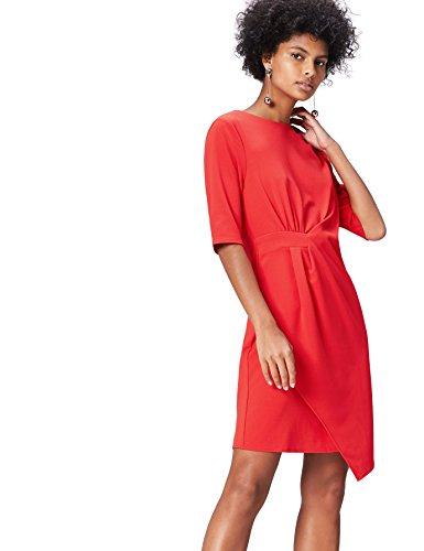 Amazon-Marke: find. Damen Kleider Drape Hem_an5414, Rot, 36, Label: S