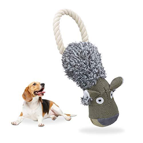 Relaxdays hondenspeelgoed wolf, piepend, met touw, trekspeelgoed kleine & grote honden, robuust, hondenknuffeldier, grijs