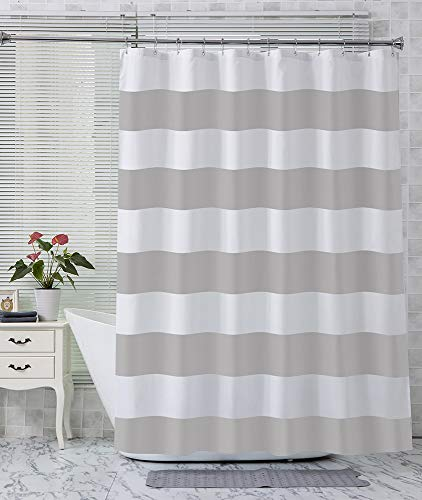 AmazerBath Fabric Shower Curtain, Grey Stripe Polyester Fabric Shower Curtains with 2 Heavy Duty Clear Stones, Decorative Curtains for Bathroom Hotel Quality, 72 X 72 Inches