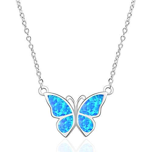 WINNICACA Schmetterling Halsband Halskette Sterling Silber Oktober Geburtsstein Blue Fire Opal Halskette Schmuck Geschenke für Frauen