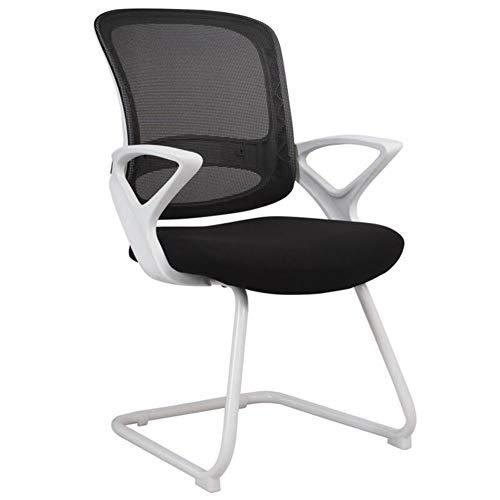 DALL Office bureaustoel metalen boog voet Ergonomische computer stoel vaste armleuning conferentie stoel ademende mesh montage (kleur: wit)
