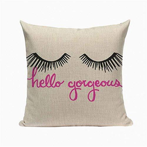 miwaimao Fashion Eyelash Cushions Cover Heart Home Decor Linen Pillow Cover Decorative Car Sofa Throw Pillows Pillowcase 45 * 45cm (4 pieces)