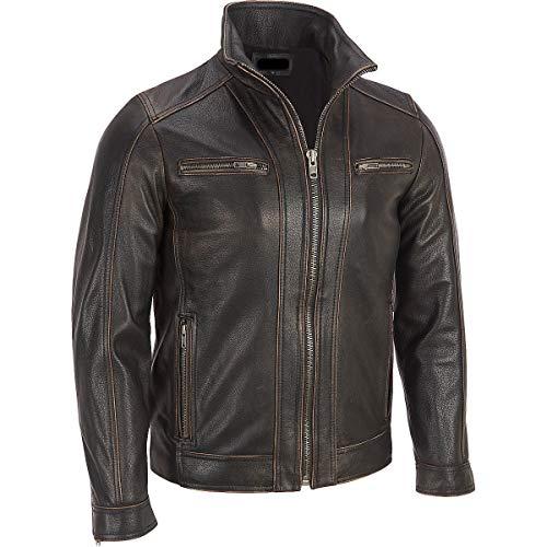 Superior Leather Garments, giacca con rivetto, da uomo, di colore nero, in vera pelle di mucca Black XXX-Large-Per Person Di Petto 119 cm