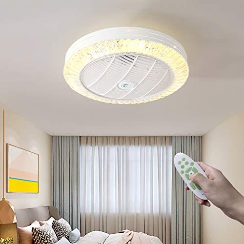 YUNZI LED Ventiladores con Luces, Moderno Regulable Cristal Lámpara De Ventilador con Mando A Distancia 3 Marchas Ajustable Luces De Ventilador por Interior Salón Cuarto Sala Comedor,60×25cm