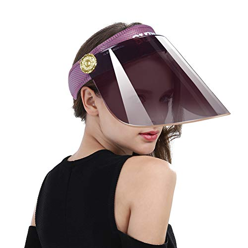 Women Anti-UV Visor Hat UPF40+ Solar Sun Protection Headband Summer Cap (Purple)