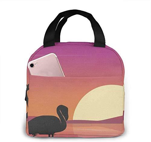 Art Flamingo - Bolsa de almuerzo para mujeres,niñas,niños,bolsa de picnic aislada,bolsa gourmet,bolsa cálida para el trabajo escolar,oficina,camping,viajes,pesca