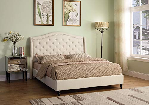 Best Master Furniture Sophie Upholstered Tufted Platform Bed King Beige