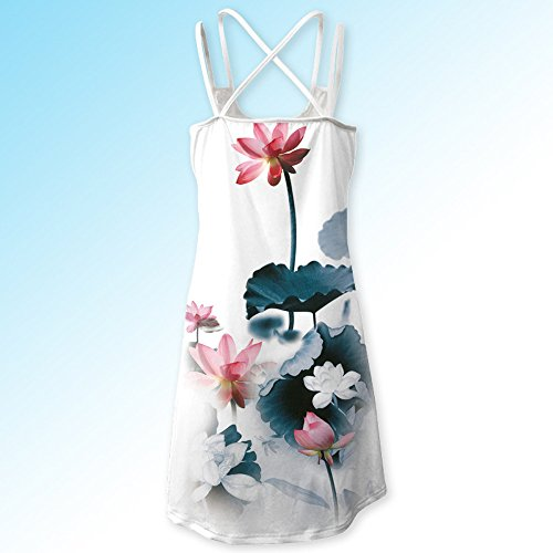 Toamen Women's Dress Sale Clearance Bohemia Vintage Sleeveless 3D Floral Print Tank Summer Beach Party Holiday A-Line Mini Dress (Multicolor 6, 16)