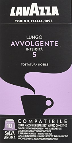 Lavazza Cápsulas de Café Compatibles con Nespresso, Lungo Avvolgente, 100% Arábica, Paquete de 10 Cápsulas