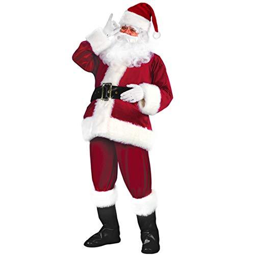 Besteamer Christmas Costumes Santa Claus Costume Set Men's Deluxe Santa Suit (12 Pcs Santa Costumes Red Wine )