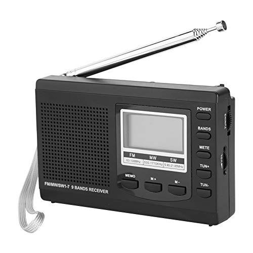 Socobeta Mini-Radios mit digitalem Wecker für Radiosender funktionieren(Black)