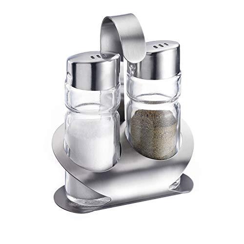 Westmark Menage Salz und Pfeffer, 3-tlg., Fassungsvermögen: je 40 ml, Rostfreier Edelstahl/Glas, Wien, Silber/Transparent, 65022260