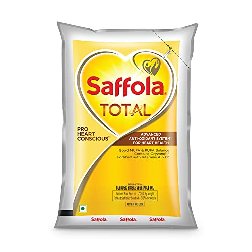 Saffola Total Refined Cooking Oil   Blended Rice Bran & Safflower Oil   Helps Manage Cholesterol   1 Litre Pouch