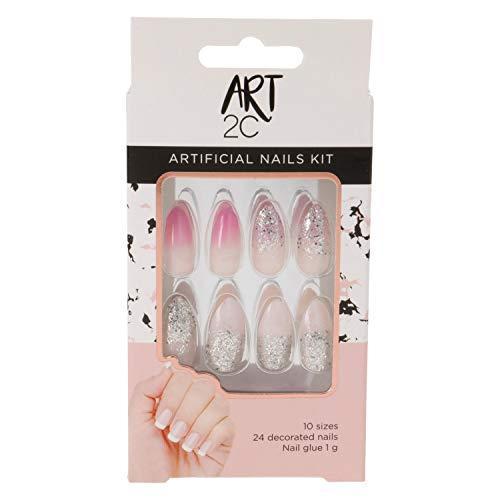 Art 2C - künstliches Nagelset, mit Kleber, passende Form, problemlos entfernbar, 24 dekorierte Nägel, 10 Größen - Mandelform, pinker und silberner Glitter, 046