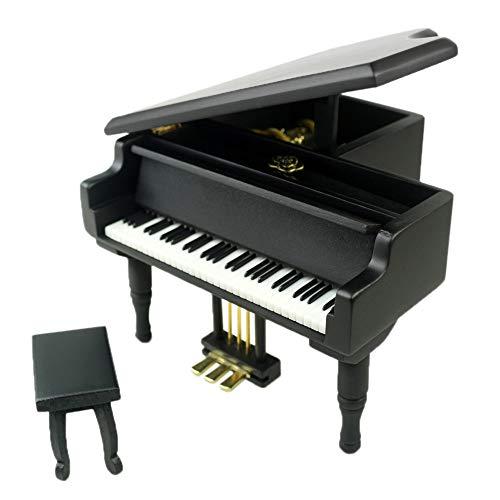 Houten Piano Shaped Music Box Met Kleine Kruk creatief verjaardagscadeau QPLNTCQ