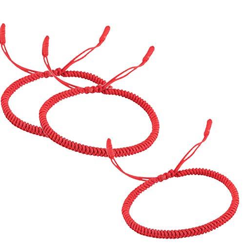 Rimobul Handmade Tibetan Buddhist Lucky Red Rope Bracelet - 3 Pack (Faith)
