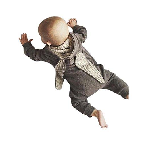Lilicat Baby Kleidung Mantel Säugling Baby Kapuzenpullover Mädchen Junge Bekleidungsset Unisex Hase 3D Ehar Sweatshirt Overall Outfits Jumpsuit Warm Romper Outwear (18M, Grau)