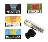 Outletdelocio. Pack 4 Hierba para cachimba Shisha sabores Fresa, Cola, Ron y UVA + Pastillas Carbon cachimba. 58324