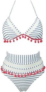 COCOSHIP Women's Mesh Striped High Waist Bikini Set...