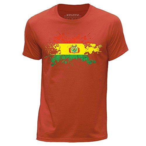 STUFF4 Uomo/Piccolo (S)/Arancia/Girocollo T-Shirt/Bolivia Bandiera Splat
