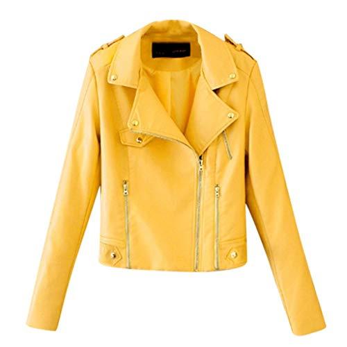 BBring Damen Kurze Lederjacke, Revers Reißverschluss Mantel Crop Bauchfreies Wasserdicht Reißverschluss Saum Outwear Herbst Winter Langarm Oberteile Tops (S, Gelb)