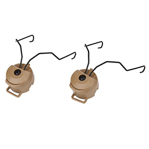 Tbest Helm Schiene Adapter Halter, 1 Paar Tactical Airsoft Headset Schiene Adapter Set für Fast/ACH/Mich/Peltor Comtac Helm Adapter für Sordin Headset Tpye(Tan)