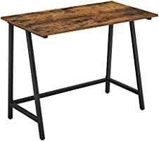 VASAGLE Computer Desk, Writing Desk with Steel Frame, Rustic Top, Work Table for Office and Home Study, Easy Assembly,...