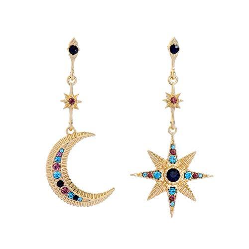AILUOR Pendientes de aro colgantes de estrella y luna de cristal, pendientes de gota de sol y...