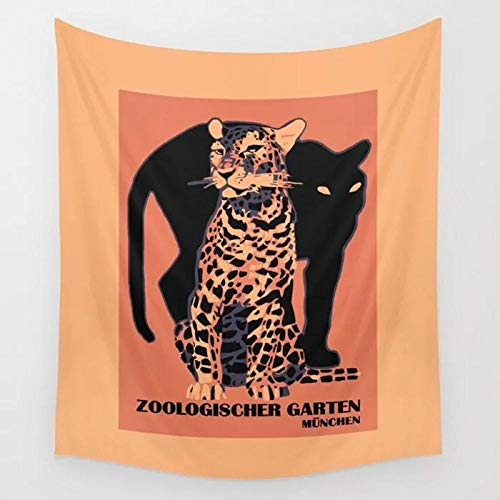 Retro Vintage Munich Zoo Big Cats Tapiz de pared Toalla de playa Picnic Yoga Mat decoración del hogar 150x130cm