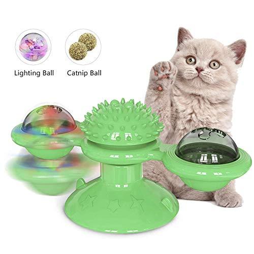 O'woda Pet Windmühle Drehscheibe mit Saugnapf Drehbare, Interaktives Cat Spinning Ball Spielzeug mit Katzenminze und LED Blinkende Lichter, für Katze Zähneknirschen und kratzen (Grün)