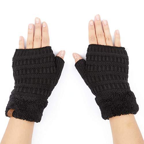 C.C Fingerless Gloves Fuzzy Lined Knit Wrist Warmer Solid Ribbed Glove (FLG-25) (Lt Mel Grey)