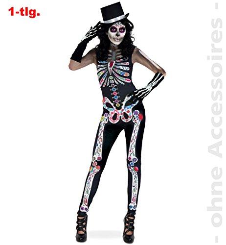 Party-Chic 12071 Damen Jumpsuit Skelett Catrina - Gr. M
