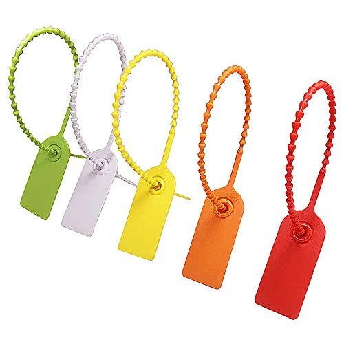 Gurxi Etichette di Fascette di Plastica Fascetta Multicolore di Plastica Sigilli di Sicurezza la Logistica per Abbigliamento Scarpe Borse Logistica Trasporto 100 Pezzi (Vari Colori)