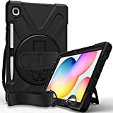 Samsung Galaxy Tab S6 Lite 10.4 Case 2020 with S Pen Holder | Blosomeet Protective SM-P610/P615 Tablet Case with Stand | Heavy Duty Shockproof Durable Book Cover with Handle Shoulder Strap | Black