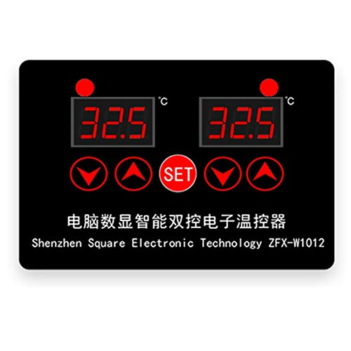 Nirmon Termostato Digital ZFX-W1012 Controlador de Temperatura de Incubadora Termorregulador de Salida de Dos ReléS, 24 V