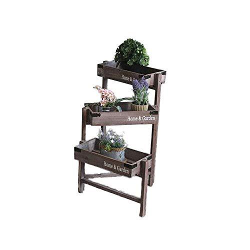 Plant Stand, Vintage 3 Tier Vouwen Houten Tuinplant Stand Planter Antieke Stijl Rustieke Kratten voor Weergave Decoreren Theater Kruiden struiken Bloemen Planken Binnen Outdoor Eenvoudige montage en Robuust
