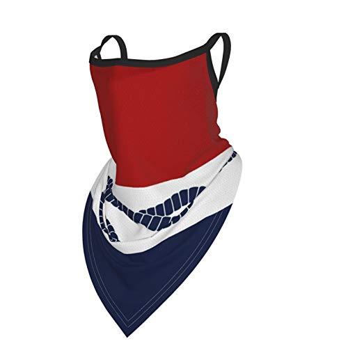 Unisex Bandana Stoff Gesichtsmaske Nautisch Kissen Seil Blau Weiß Rot Maritim Waschbar Sturmhaube mit Ohrschlaufen Halstuch Staub Wind Motorradmaske Damen Herren Outdoor